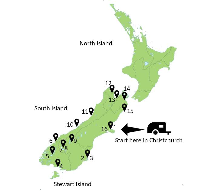 South Island New Zealand map