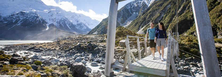 Mountains - hooker valley with hire caravan