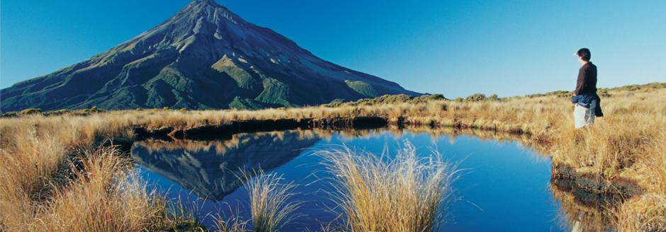 mount taranaki without its snow cap with hire caravan